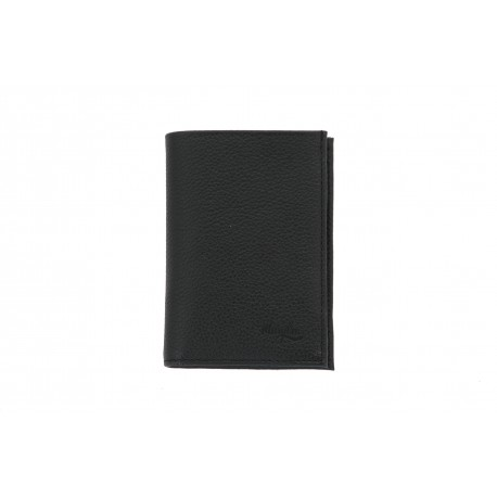 MARGENE BOMPARD PORTEFEUILLE RFID PROTECTION CUIR GRAINE NOIR