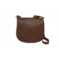 CASSIS SAC BESACE CUIR A BANDOULIERE MARRON FONCE CUIR VEGETAL