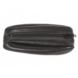 Bourse porte monnaie en cuir coloris Noir lisse